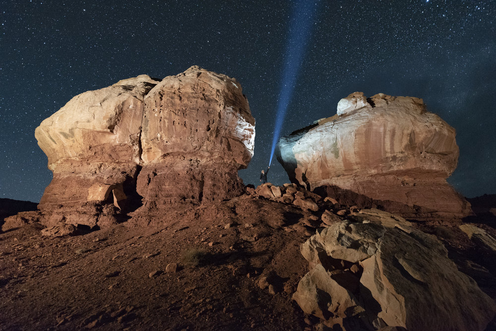 The Twins, Capitol Reef National Park.  Nikon D750 ,  Zeiss Distagon 15mm f/2.8 ,  Coast HP7R  flashlight. 26 seconds, f/3.2, ISO 6400. © 2018 Matt Hill.