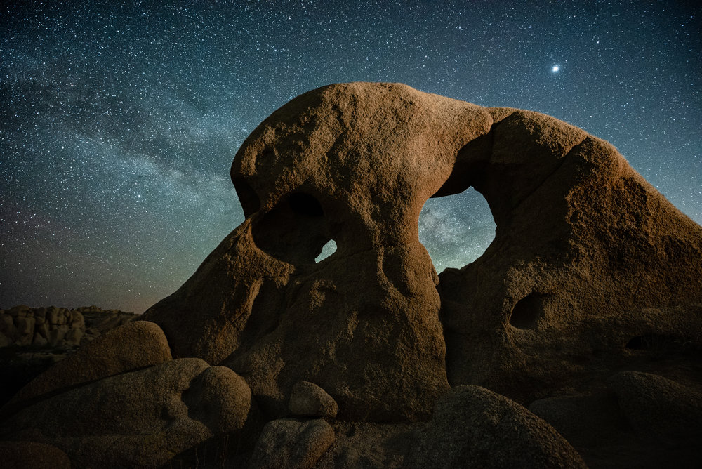 """Reality is outside the skull,"" Joshua Tree 2018.  Nikon D750 ,  14-24mm f/2.8  lens. 80 seconds, f/2.8, ISO 1600."
