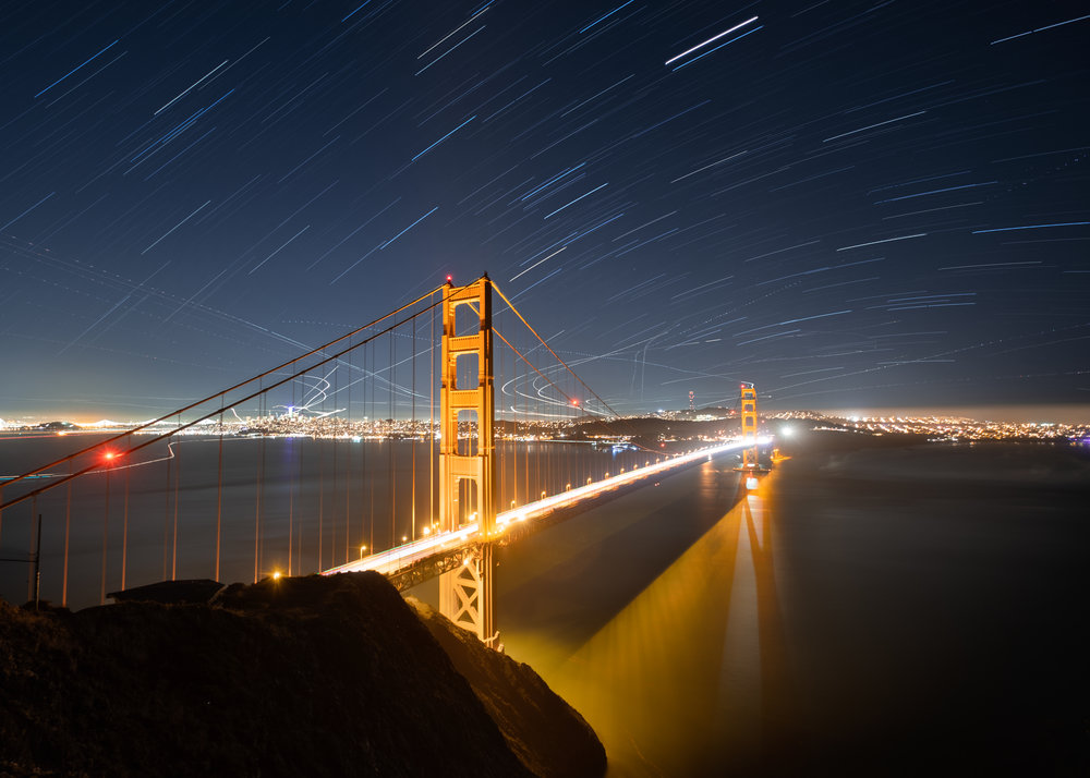 Star Trails over Golden Gate Bridge.  Fuji X-T2 ,  Fuji XF 10-24mm f/4  lens set at 10mm. Sixty exposures, each 30 seconds, f/4, ISO 200.