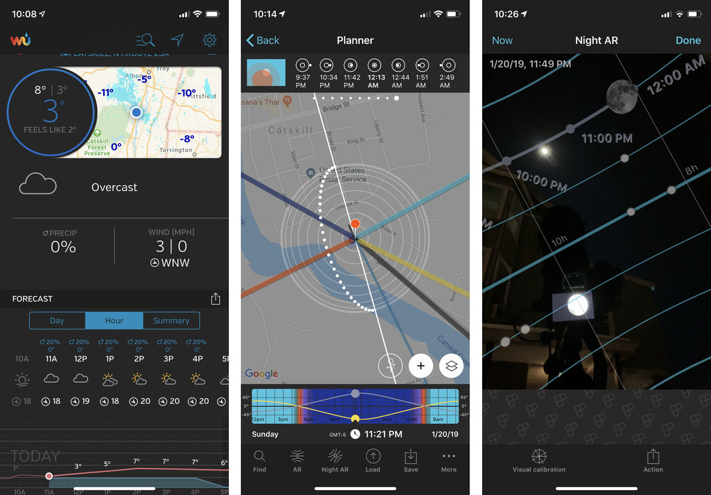 The  Weather Underground  app (left) and  PhotoPills ' eclipse and Night AR features provided all the info needed about where and when to shoot the eclipse in Catskill, New York.