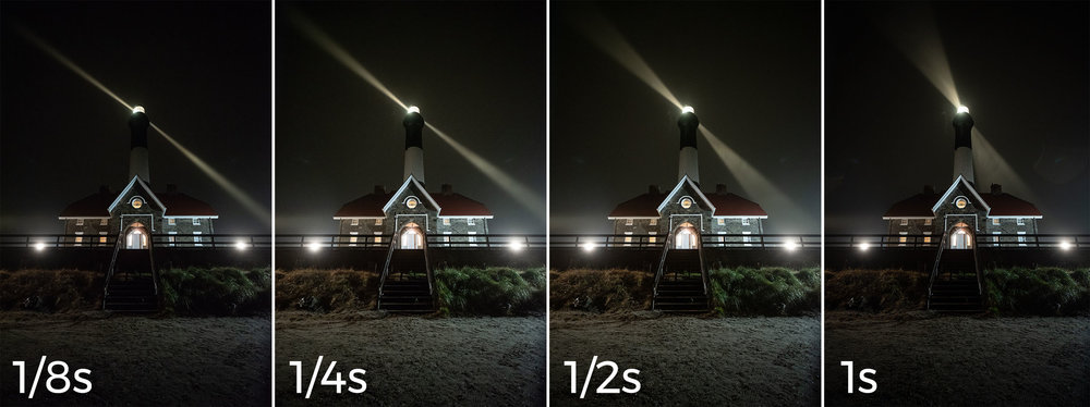 You can see in my test shots how the width of the rotating lighthouse beam changes with longer shutter speeds. In these examples, 1/8 resulted in the narrowest beam, 1 second in the widest.