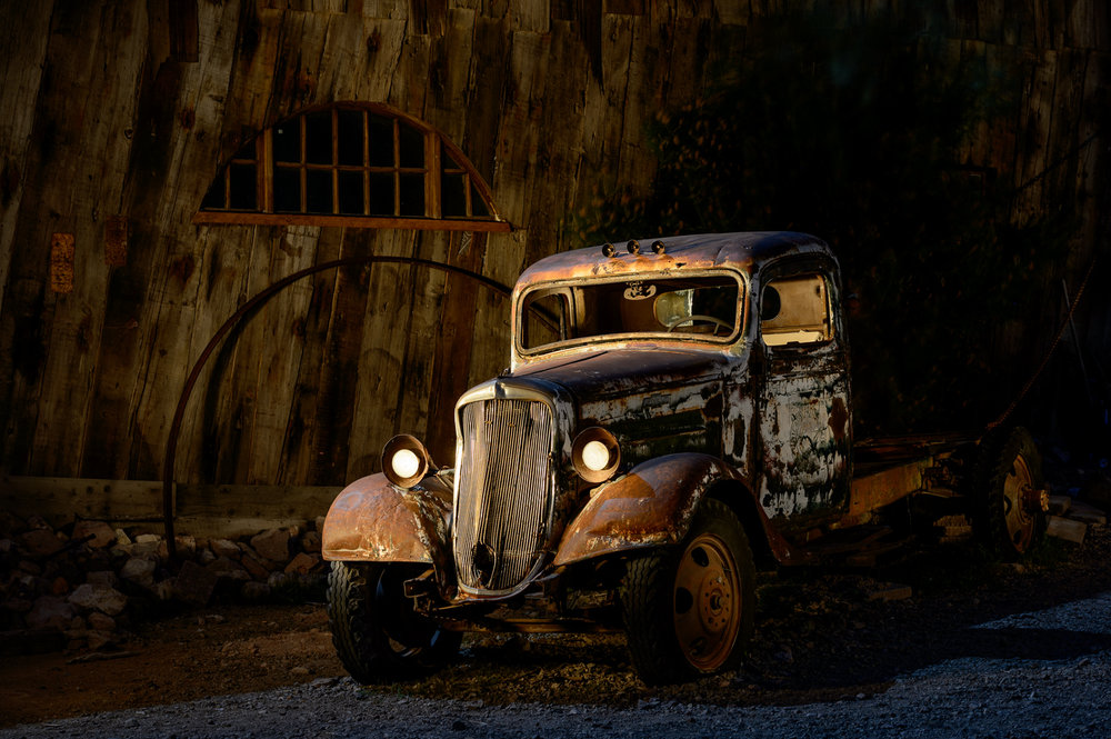 Pickup in  Nelson Ghost Town , Nevada. © Tim Cooper. Nikon D4,  Nikon 24-70mm f/2.8  lens. 3 minutes, f/8, ISO 100.