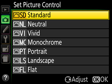 Figure 2. The Nikon Picture Control menu.