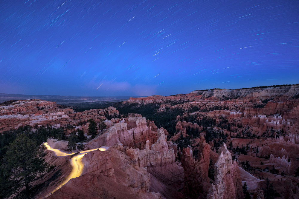 The Amphitheater at dusk,  Bryce Canyon National Park .  Fuji X-T2  with a  10-24mm f/4  lens at 10mm. 3 seconds, f/7.1, ISO 200. © 2018 Tim Cooper.