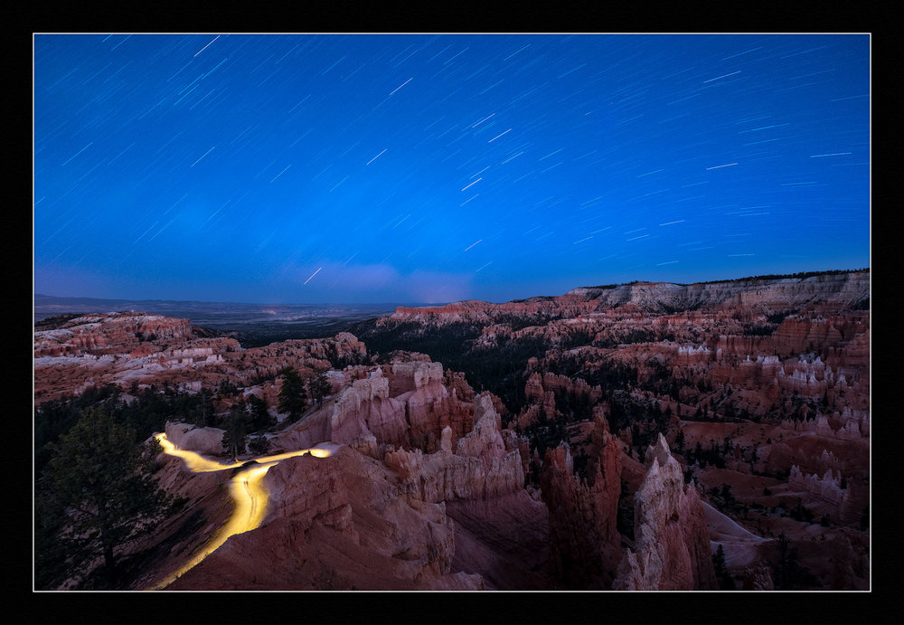 Star Trails Over the Amphitheater, Bryce Canyon National Park.  Fujifilm X-T2 ,  10-24mm f/4  lens at 10mm. Light-painted with a  Coast HP7 . Two blended exposures of 1 second, f/8, ISO 200 and 15 minutes, f/5.6, ISO 100.