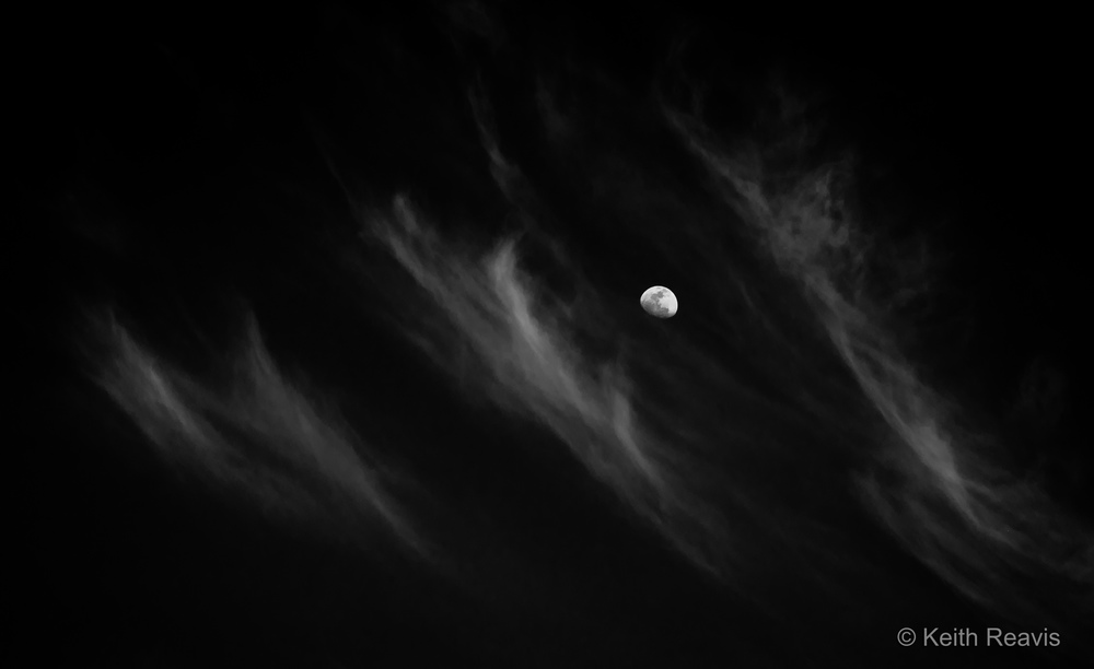 Moon and Three Clouds