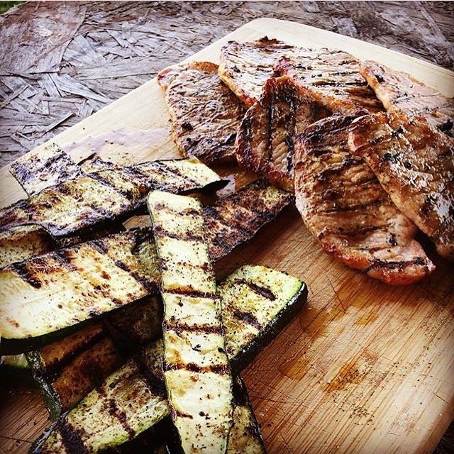 Grilled #zucchini and #porkchops with a garlic, curry and grand masala rub. Delicious! #farmtotable #organicvegetables #farmfresh #bbq #choosehealthy #femalesthatfarm #knowwhatyoureeating #foodie #organic #lowcarb #atkins #littlemountainfarmco