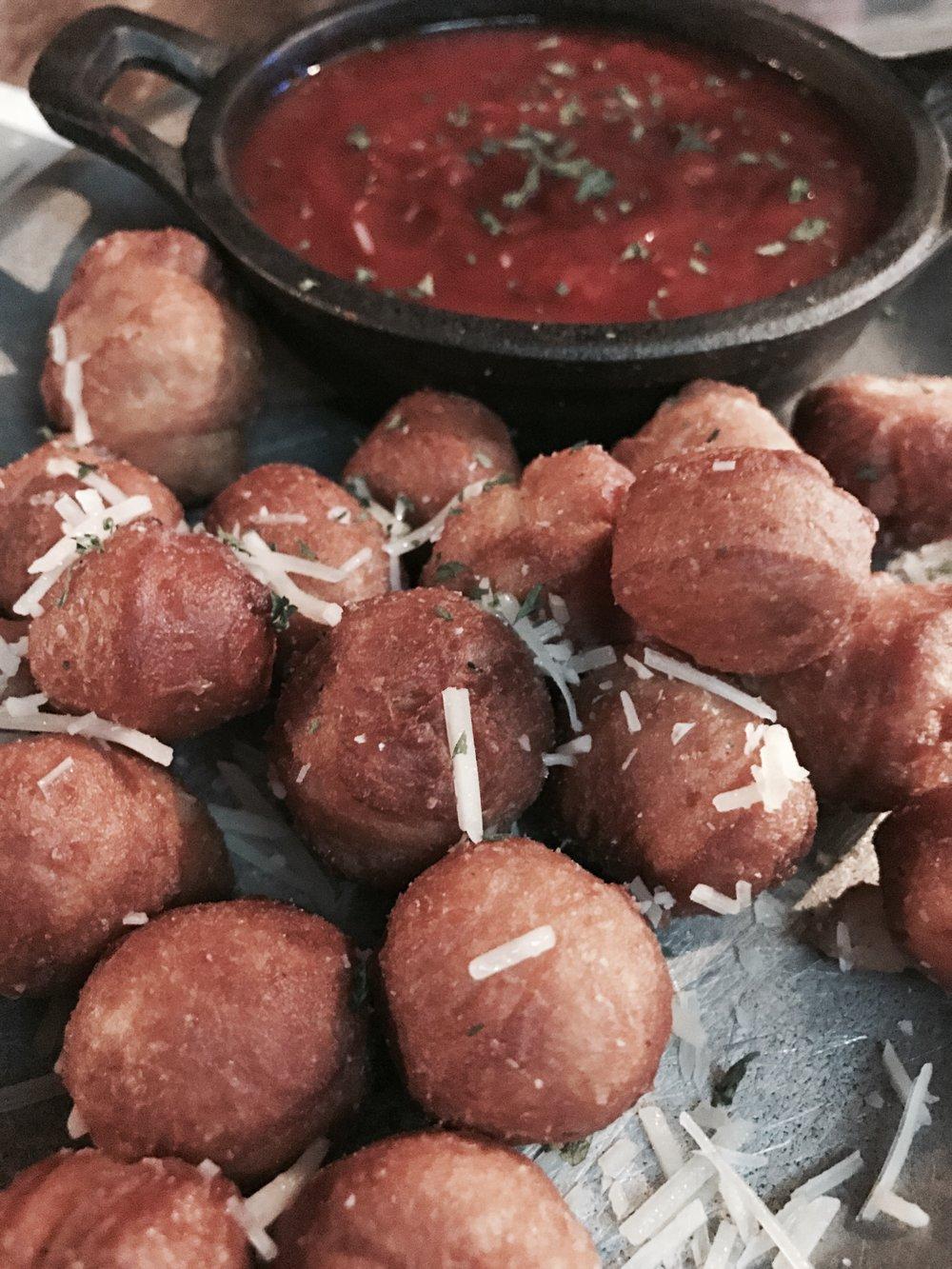 Gourdough's garlic doughnut holes. Carb euphoria!
