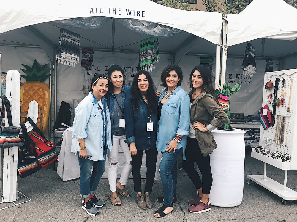All smiles from my All The Wire family on Day Three. (left to right) Julie Padron (master seller), Tori Gonzales (founder), Desi Cox (founder), Jo Mama (home designs)