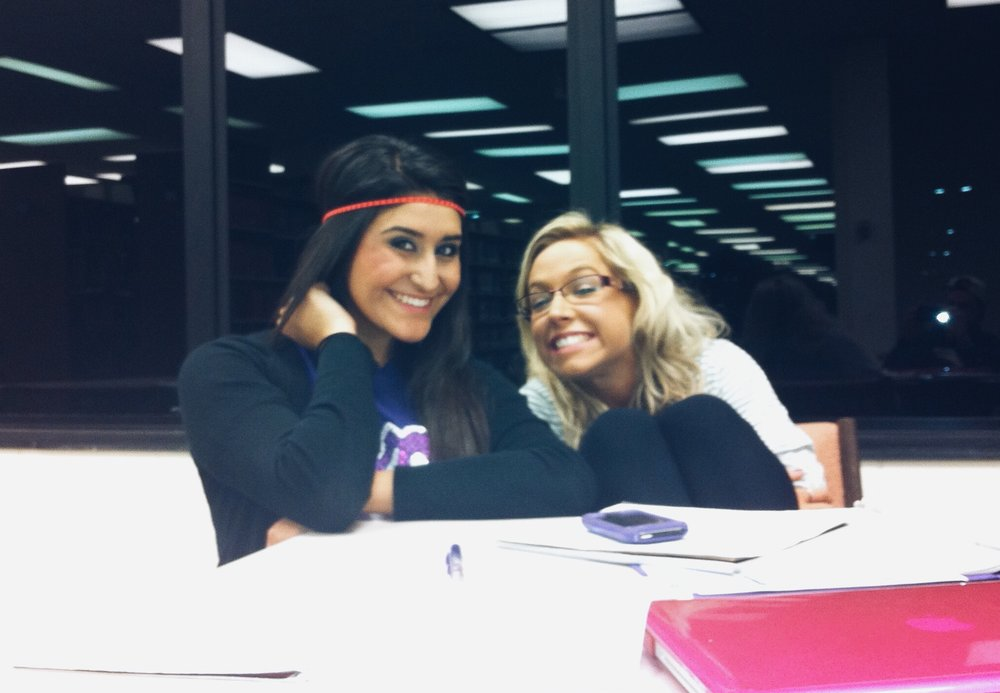 2011 - SFA Library nights with my favorite study buddy... back when I was a nursing major. Yes, a nursing major. And the headband and goofy smiles are because we just came back from a really fun themed Bid Day event.
