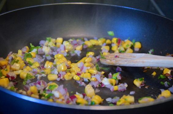 -lightly saute corn, onions, cumin seeds, garam masala, and coriander with a tbsp of vegetable oil.
