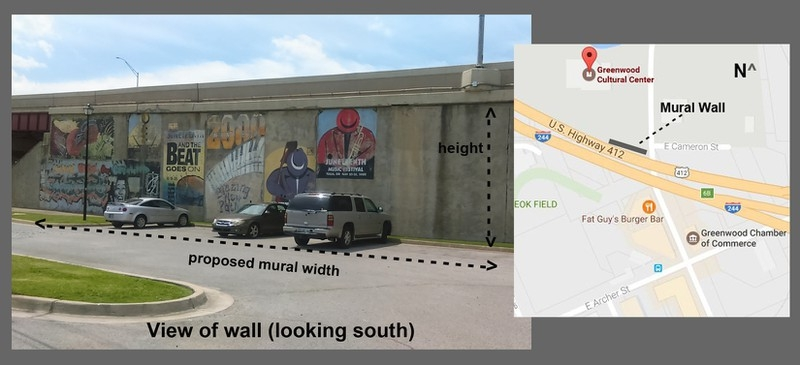 Greenwood Mural - Chris RogersChris is working closely with Greenwood Cultural Center and the Race Riot Commission to design a mural that is inviting and historical to the neighborhood. He is co-painting this mural with