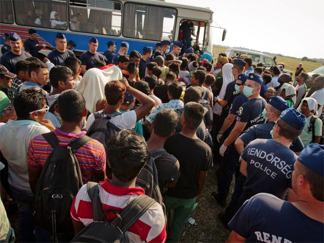 Migrant busses into Europe