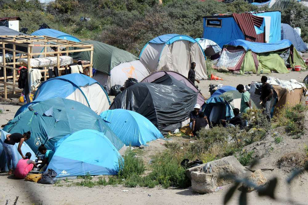 Makeshift camps set up by migrants