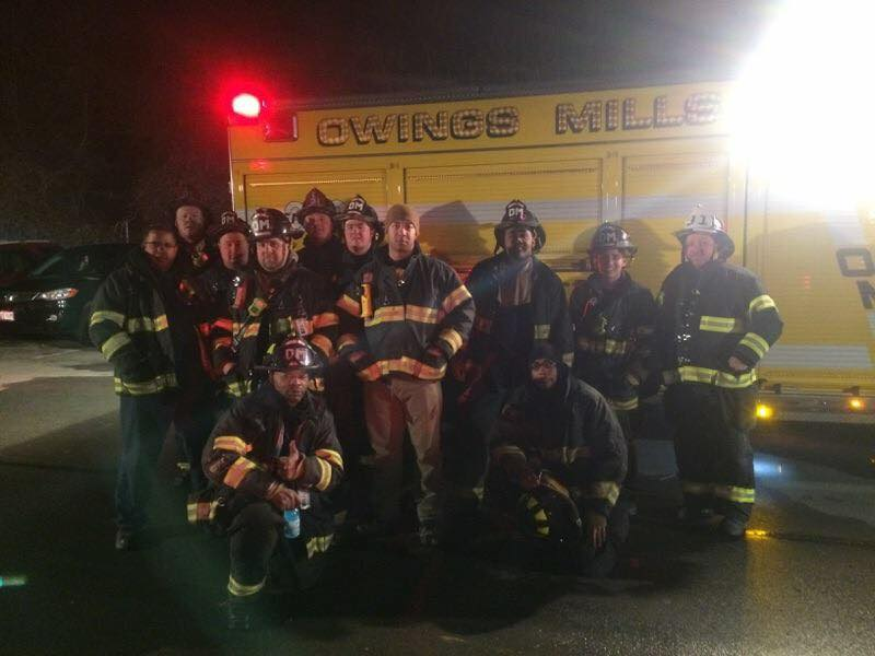 Members of the company after a second alarm fire in Reisterstown.