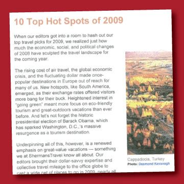 —  Provided by ShermansTravel.com, Yahoo!Travel January 2009