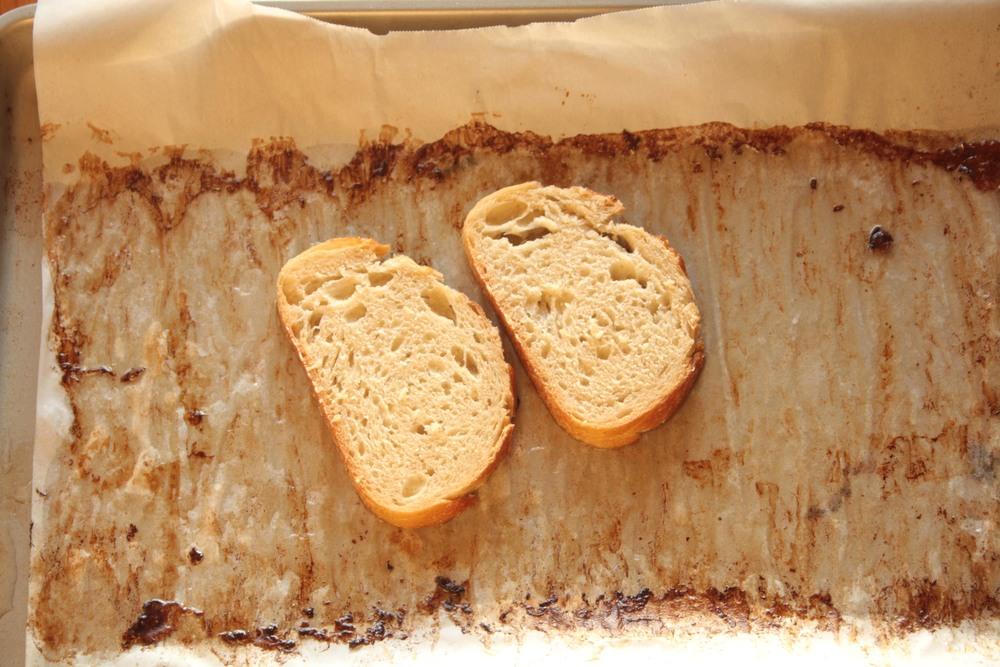 Sourdough bread in bacon fat