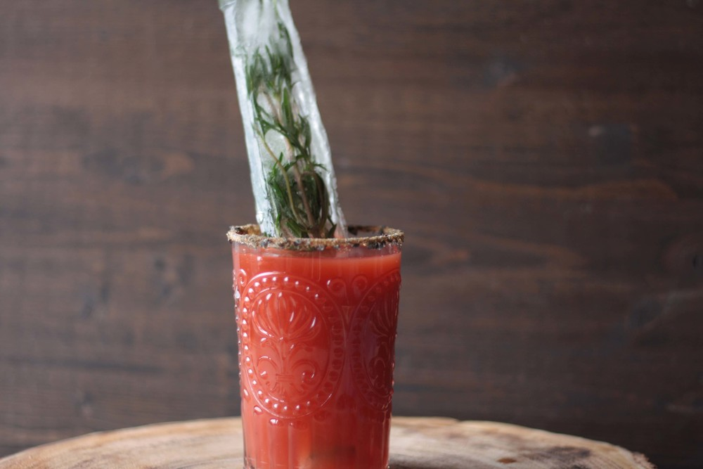 Whisky Caesar with Herbed Icicle