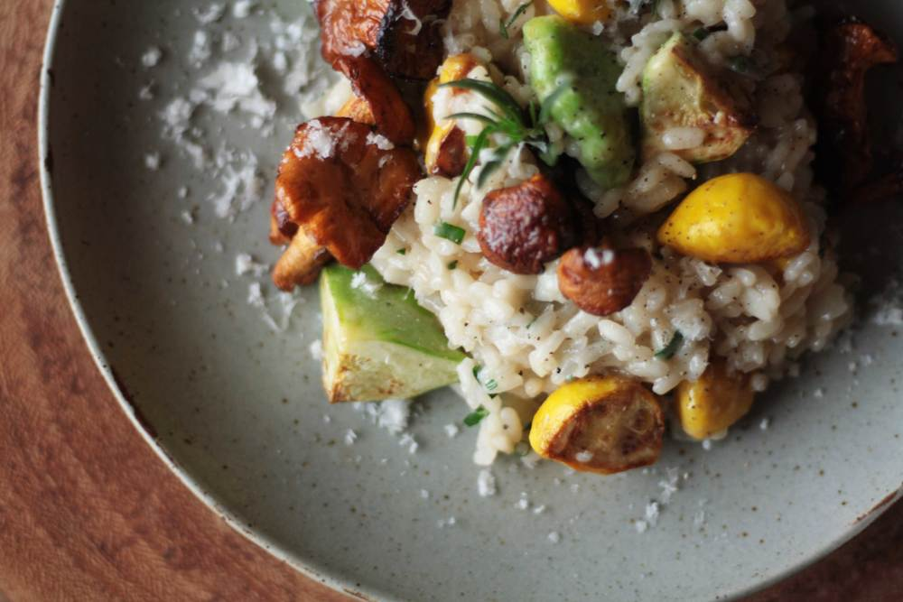 Pattypan Squash and Bomba Rice Risotto with Spring Herbs and Chanterelles