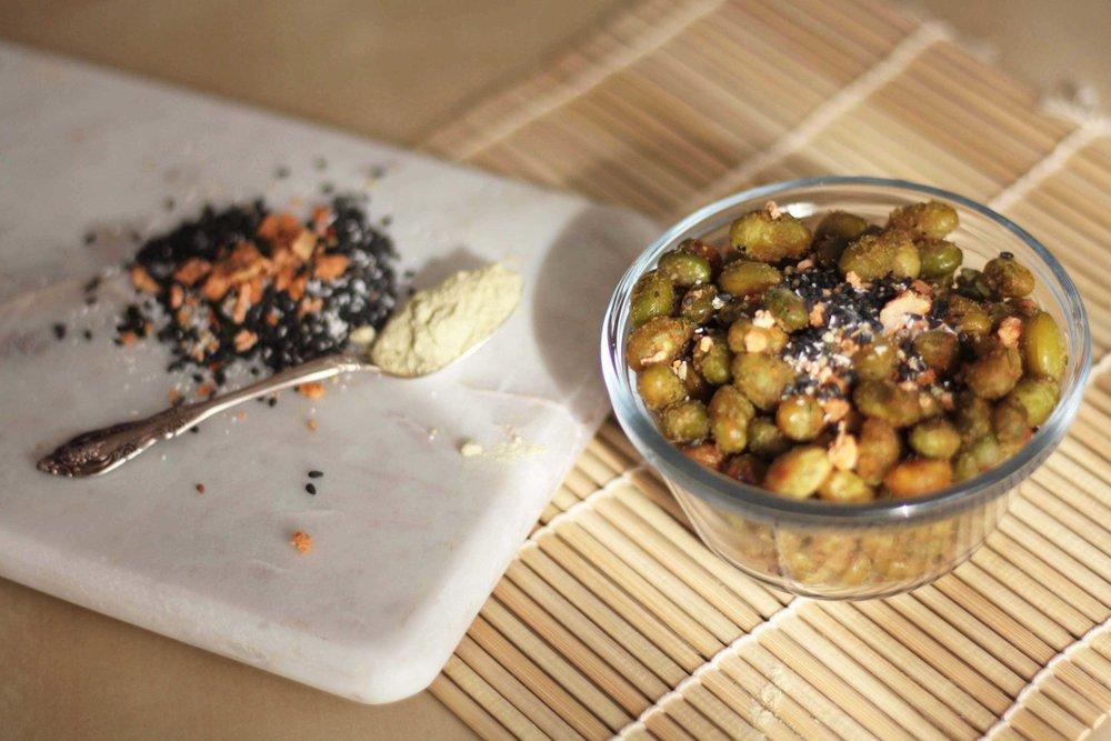 Snack Series: Crispy Furikake and Wasabi Edamame