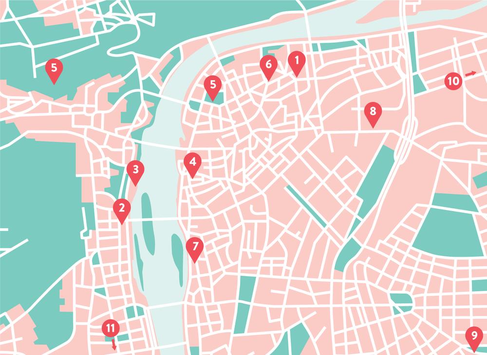 (1)  Lokal  (2)  Cafe Savoy  (3)  Kampa Museum  (4)  Lehka Hlava  (5)  Prague Castle  (6)  OldJewish Cemetery  (6)  The James Joyce  (7)  Papelote  (8)  Kurator  (9)  Boho  (10)  Veltlin  (11)  Meet Factory
