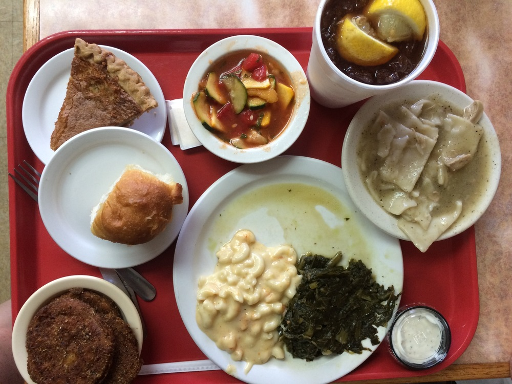 Arnold's - chicken and dumplings, mac and cheese, collards, fried green tomatoes, squash and watermelon salad, and a slice of lemon chess pie for good measure.
