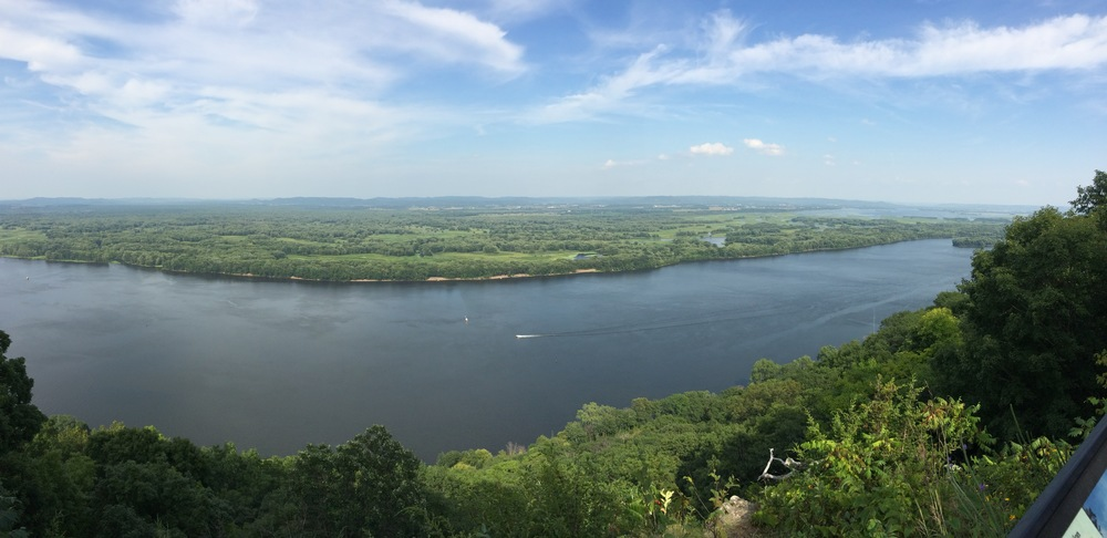 Panorama action along the Great Mississipp -  Great River Bluffs State Park - Winona, Minnesota