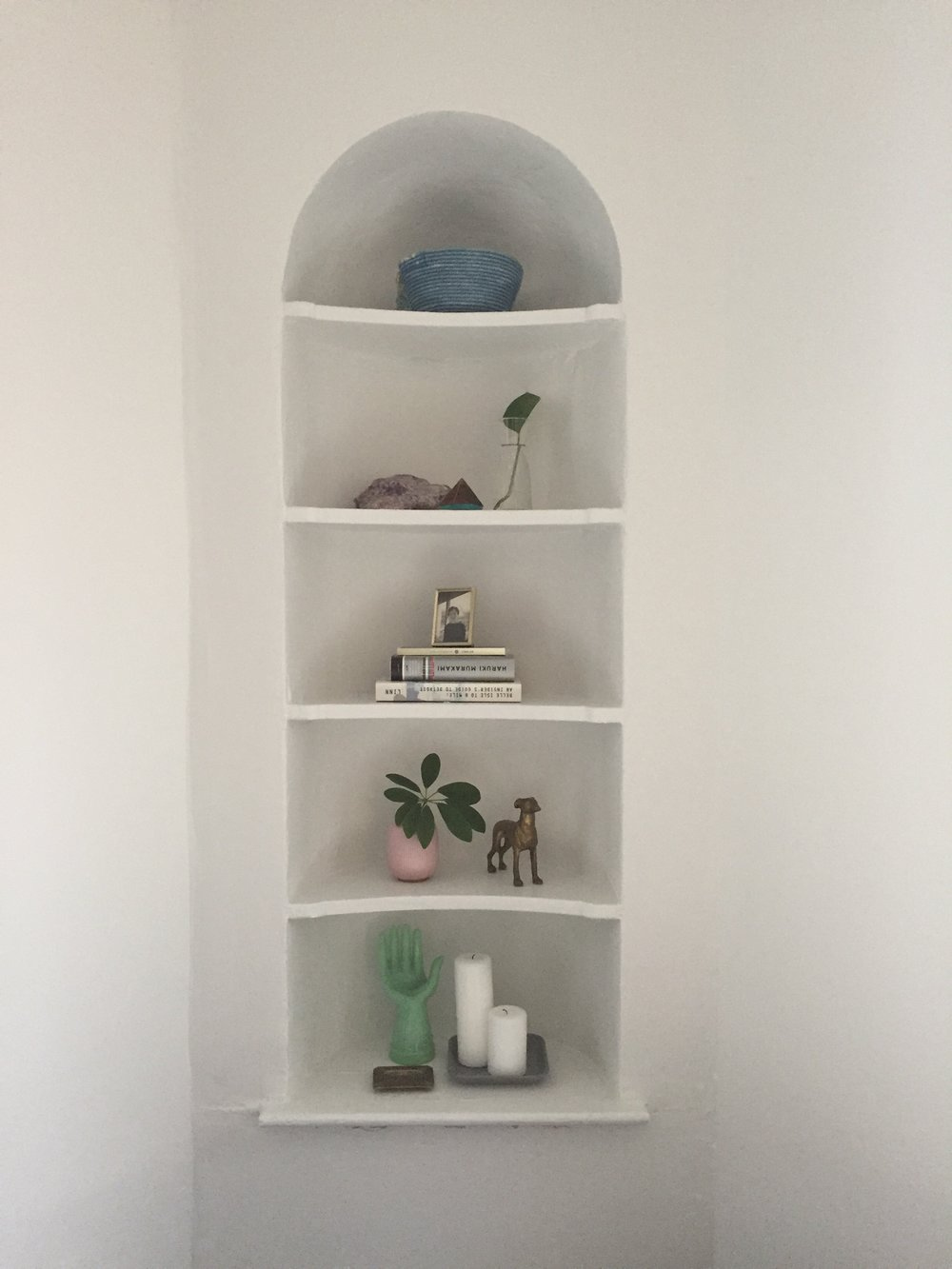 large pale indigo rope bowl as a shelf display. Image via  Libby Hopper Trajkovski