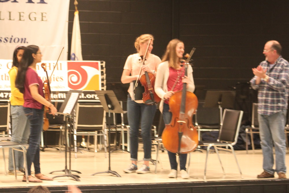 Sectional rehearsal of chamber ensemble
