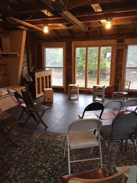 Setting up for a developmental workshop of  House of Telescopes  at The Barn Arts Collective. June 2017.
