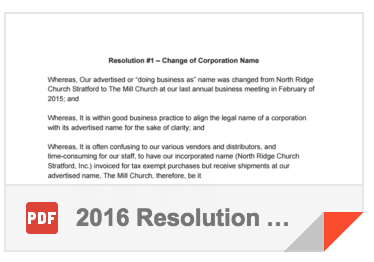 2016 Resolution #1 - Change of Corporation Name