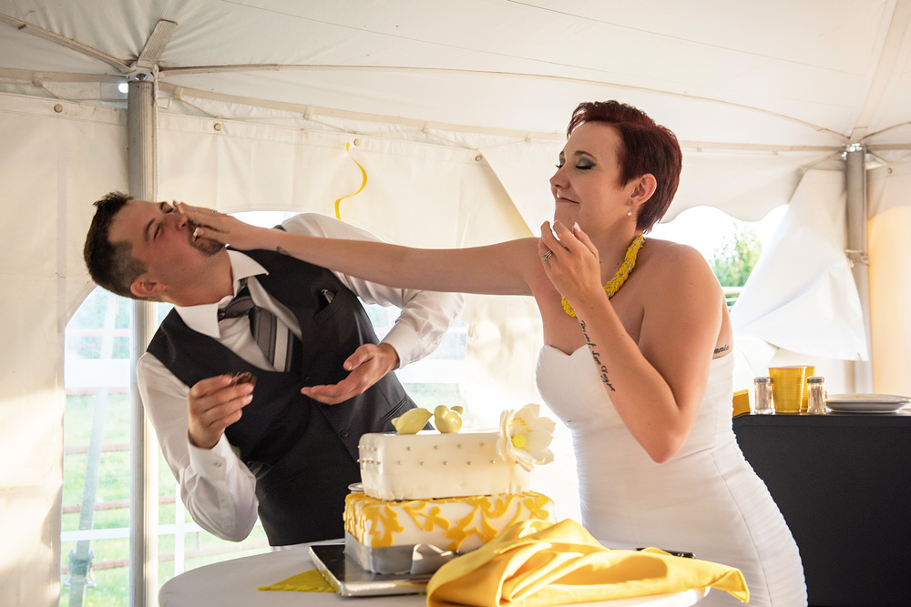 cake smashing wedding