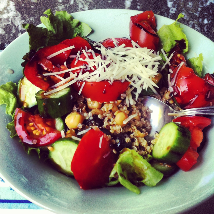 A great way to incorporate pulses is in salads! Here is one of my favorites--a tasty quinoa chickpea salad.