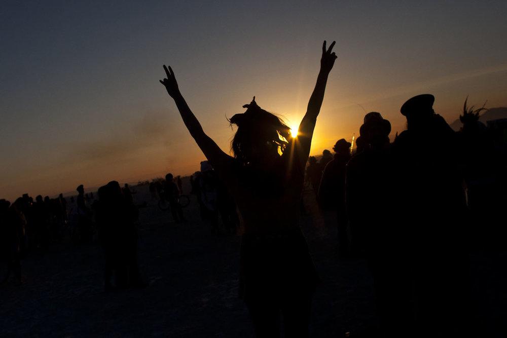 Dawn at Burning Man Festival, Nevada desert, USA