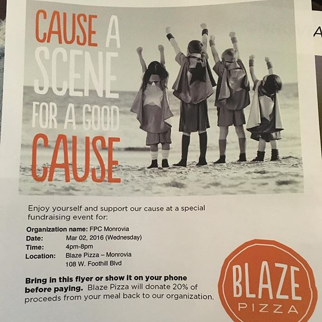 Save the date!!! Who doesn't love Blaze?🔥Come support the church next Wednesday with a nice pizza and some friendly fellowships from 4-8 pm. Grab a flyer or show them a picture of it before paying to help the church😍