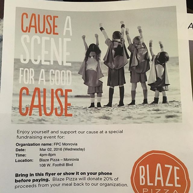 COME SUPPORT OUR CHURCH TONIGHT W A NICE YUM PIZZA😍🤑🤑 you have until 8 tonight & show them this picture or bring in your own flyer to support. Who doesn't want blaze for dinner?  Let's be real