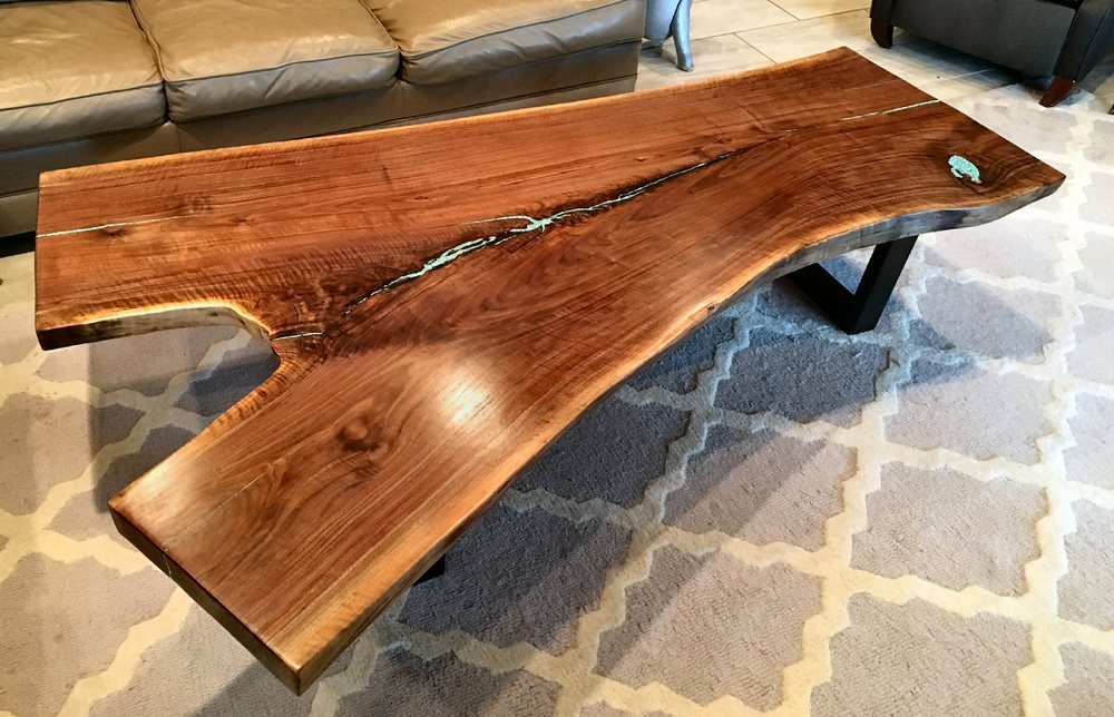 "Large Black Walnut Live Edge Coffee Table 78"" L X 24"" - 53"" W X 15"" T.  This 3"" thick slab is supported by 2"" X 3"" rectangular steel legs, and the table is has turquoise inlays...$3,500.00  SOLD"