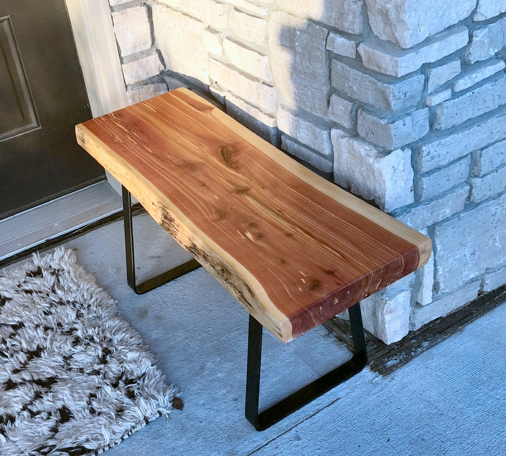 "Eastern Red Cedar Live Edge Bench, 36"" L X 14"" W X 15"" T.   Base is made from 2"" flat metal and powder coated a satin black....$275.00"