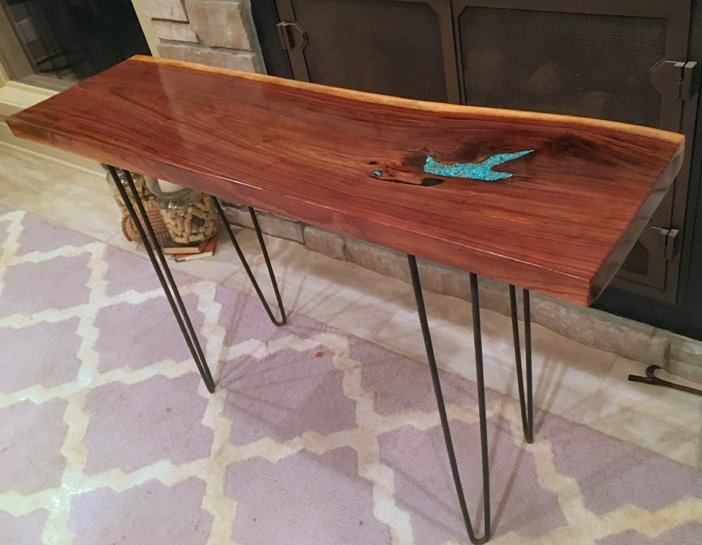 "Black Walnut Live Edge Sofa/Entry Table with Turquoise inlays 56"" L X 14"" W X 30"" T.  The legs come in a variety of designs.  This table has satin black original metal hairpin legs....$425.00  SOLD"