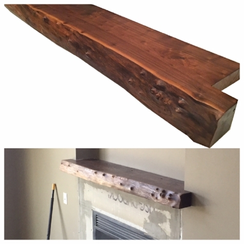 "This custom black walnut mantel with a live edge and lots of character was built for a customers new home in Lincoln.  It measures 13"" wide, 71"" long, and is 4"" thick...$750.00 SOLD"