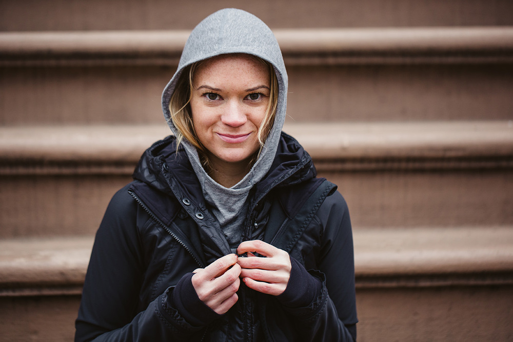 Get a jacket you can run in with multiple layers so you can peel them off on warmer days. A hood will keep you sheltered from the elements.