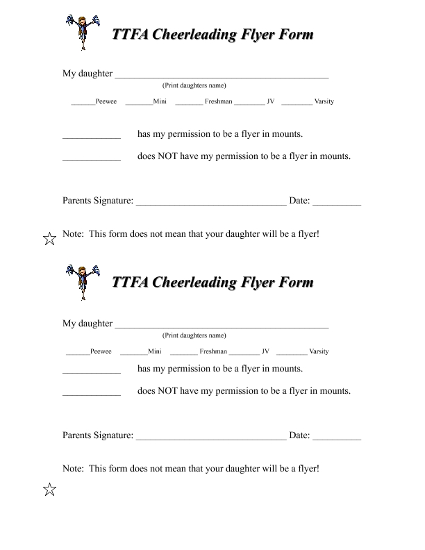 Cheerleading Flyer Form