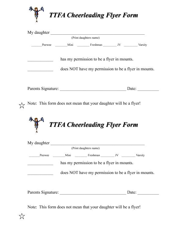 Cheerleading Flyer Form