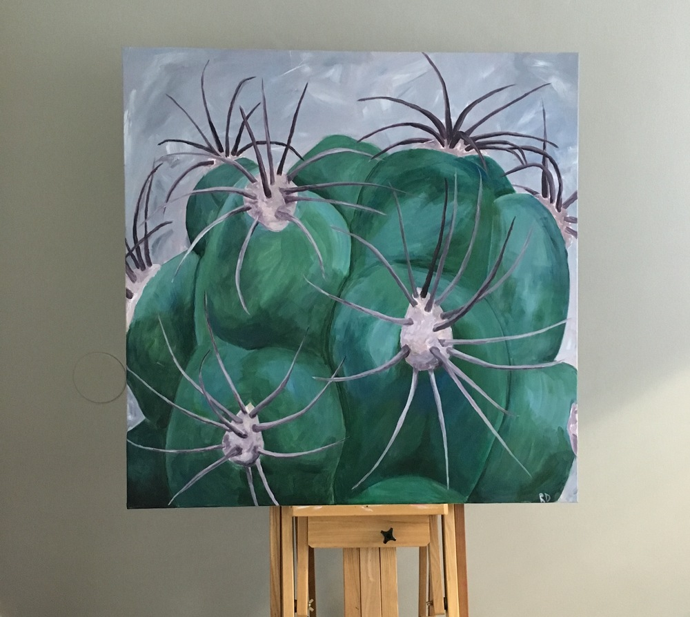 "Cacti number VI, Acrylic on canvas, 36""X36"""