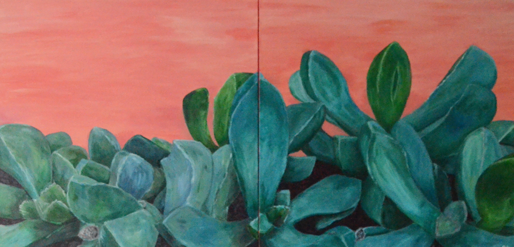 The Hedge, acrylic on canvas, 2 panels, total measurement 2'x 4'