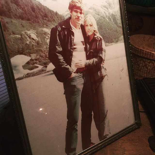 My parents c. 1980. One week before their wedding. Anchorage, Alaska. #studs #portageglacier