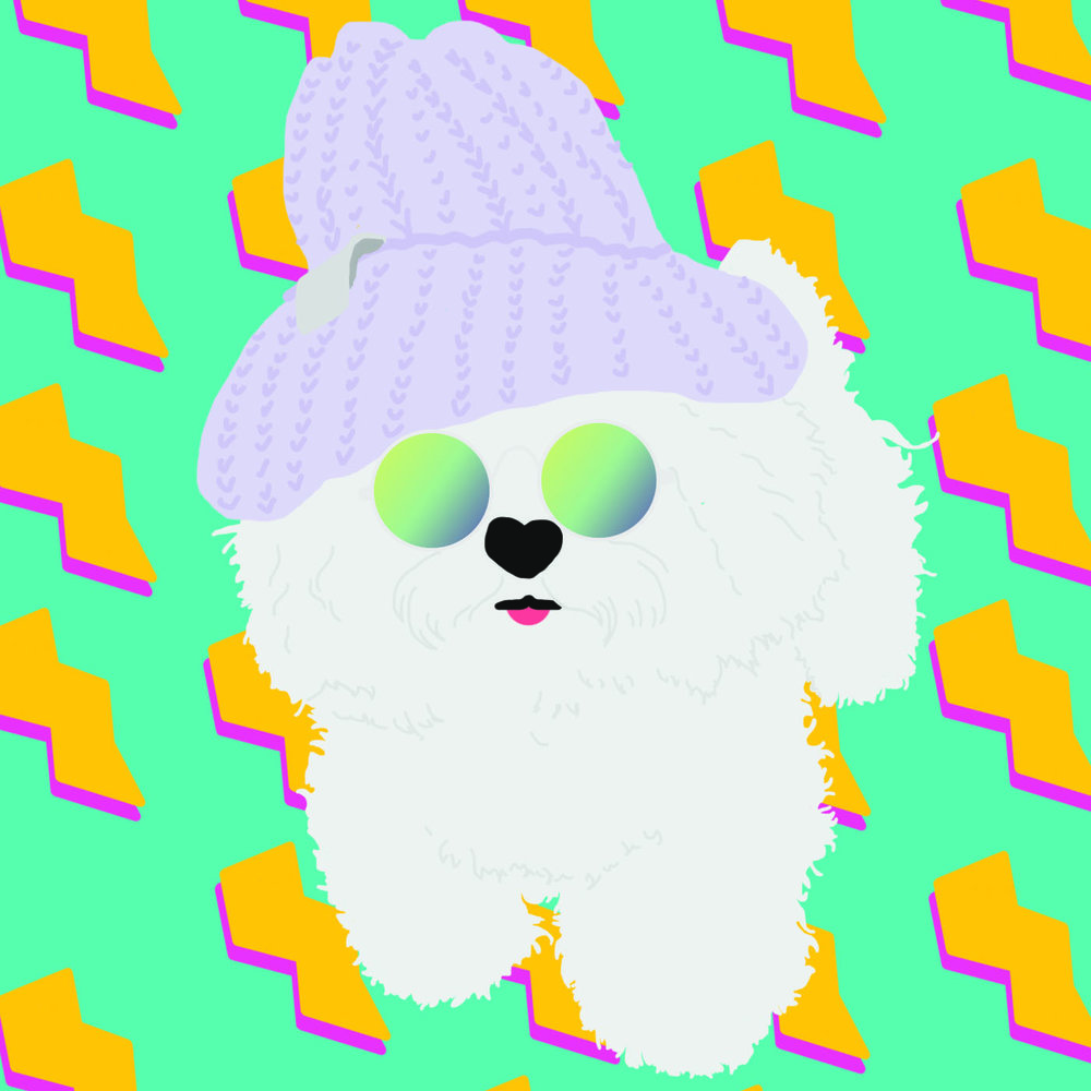 Illustrated Hipster Dog in Beanie