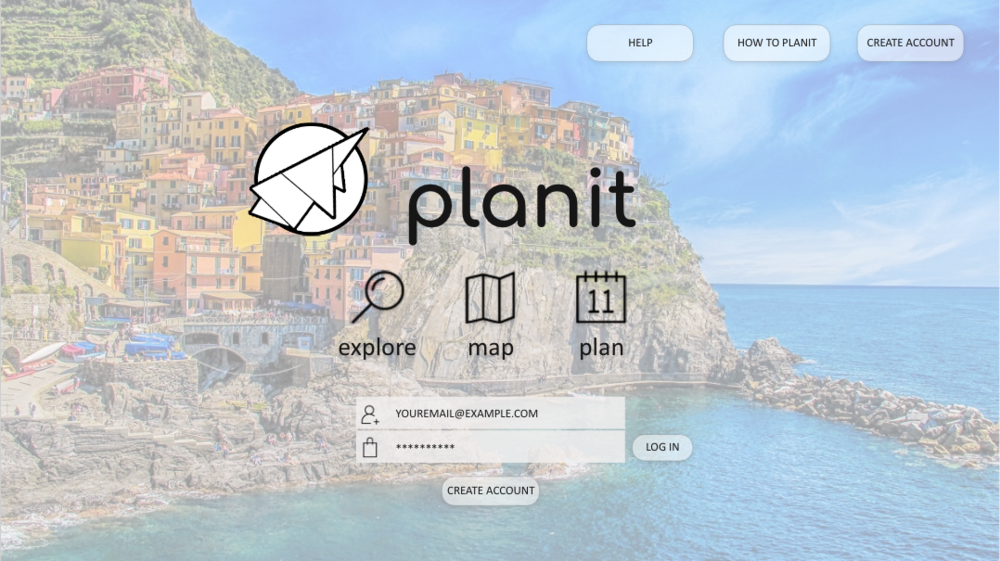 Planit Log in Wireframe