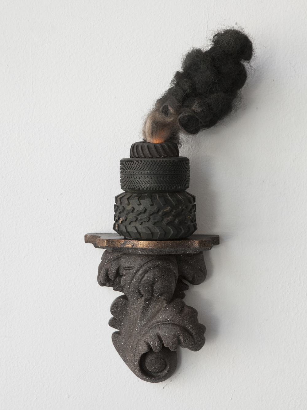 "APOCALITE 1 by Leighton Kelly Miniature Sculpture made of found objects on shelf. 7"" x 13"" x 5"". 2016."