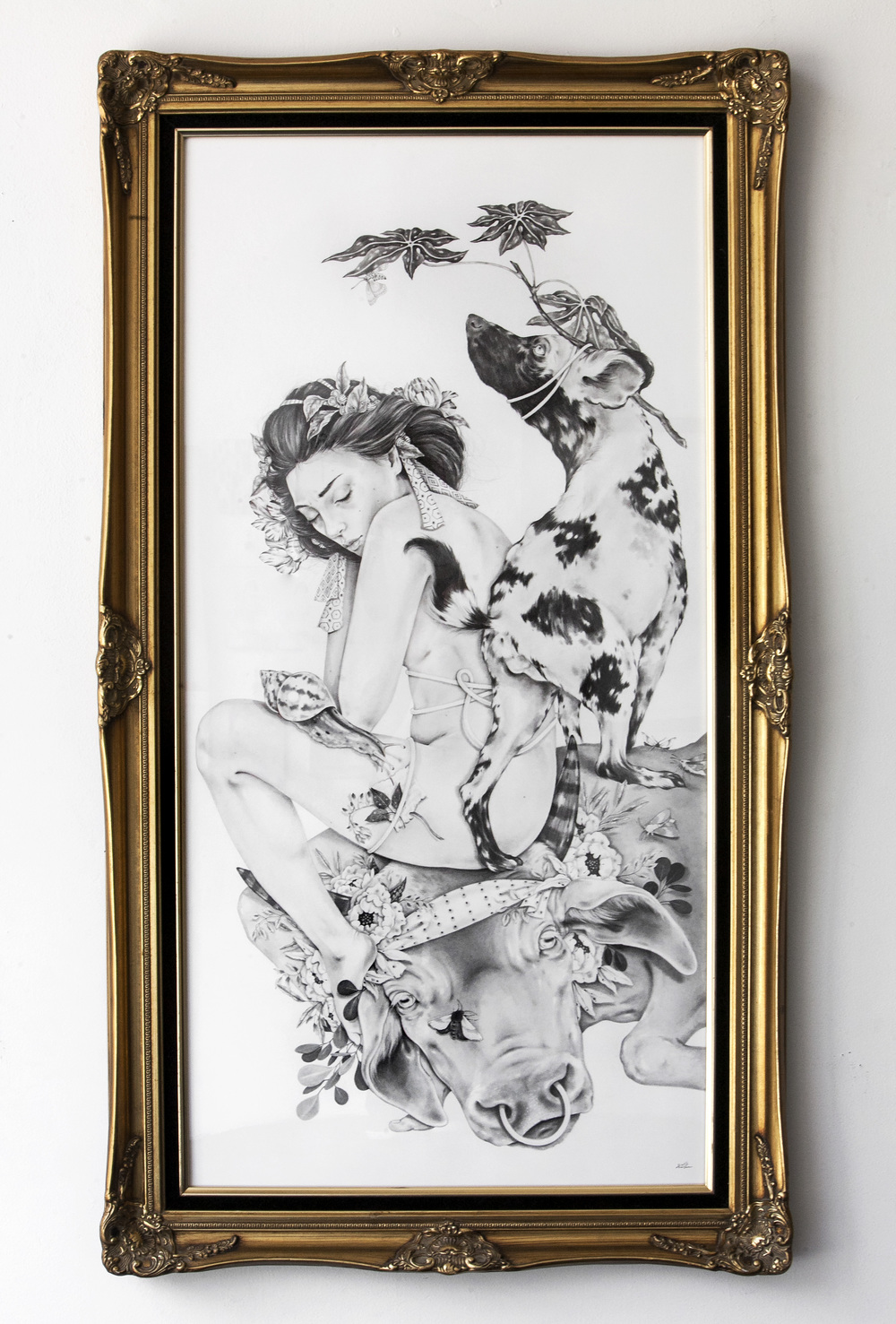 "Begotten of the Night by Nicomi Nix Turner Graphite on Paper. 24""x48"". 2016"